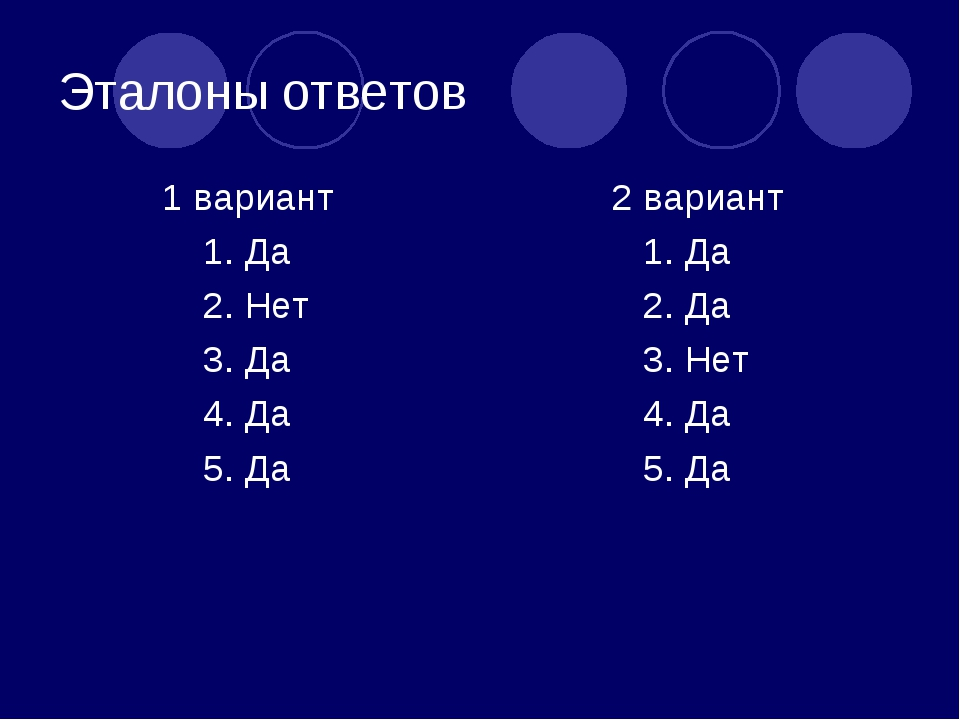 Эталоны ответов 1 вариант 1. Да 2. Нет 3. Да 4. Да 5. Да 2 вариант 1. Да 2. Д...