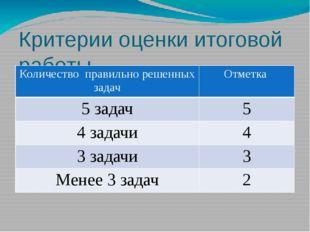 Критерии оценки итоговой работы Количество правильно решенных задач Отметка 5