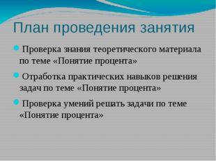 План проведения занятия Проверка знания теоретического материала по теме «Пон