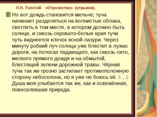 . Л.Н. Толстой «Отрочество» (отрывок). Но вот дождь становится мельче; туча н