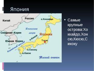 Япония Самые крупные острова:Хоккайдо,Хонсю,Кюсю,Сикоку
