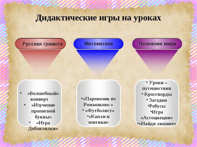 Дидактические игры на уроках «Паровозик из Ромашково » «Футболист» «Капли и з...