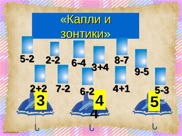 «Капли и зонтики» 3 4 4 5 2+2 2-2 5-2 6-4 7-2 3+4 8-7 6-2 9-5 4+1 5-3 scul32....