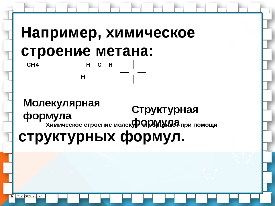 Например, химическое строение метана: Н СН4 Н С Н Н  Химическое строение м...