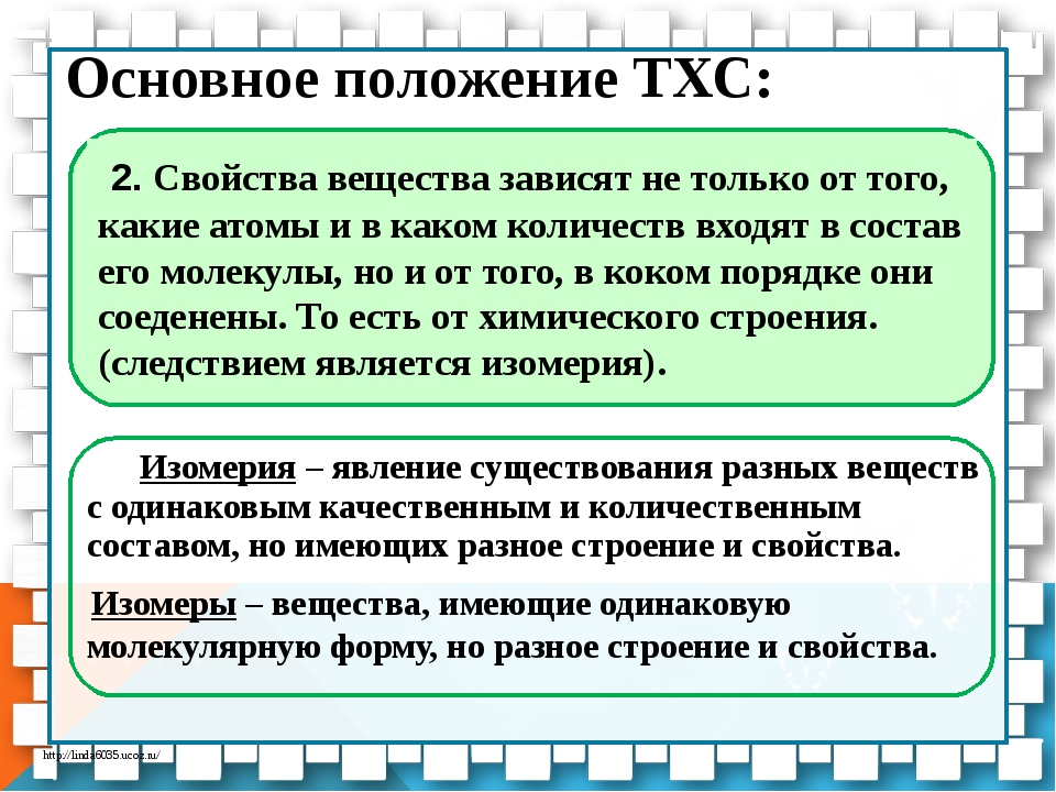 Основное положение ТХС: Изомерия – явление существования разных веществ с од...