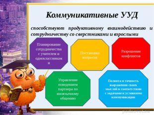 Коммуникативные УУД способствуют продуктивному взаимодействию и сотрудничеств