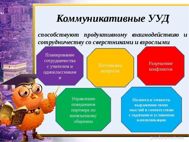 Коммуникативные УУД способствуют продуктивному взаимодействию и сотрудничеств...