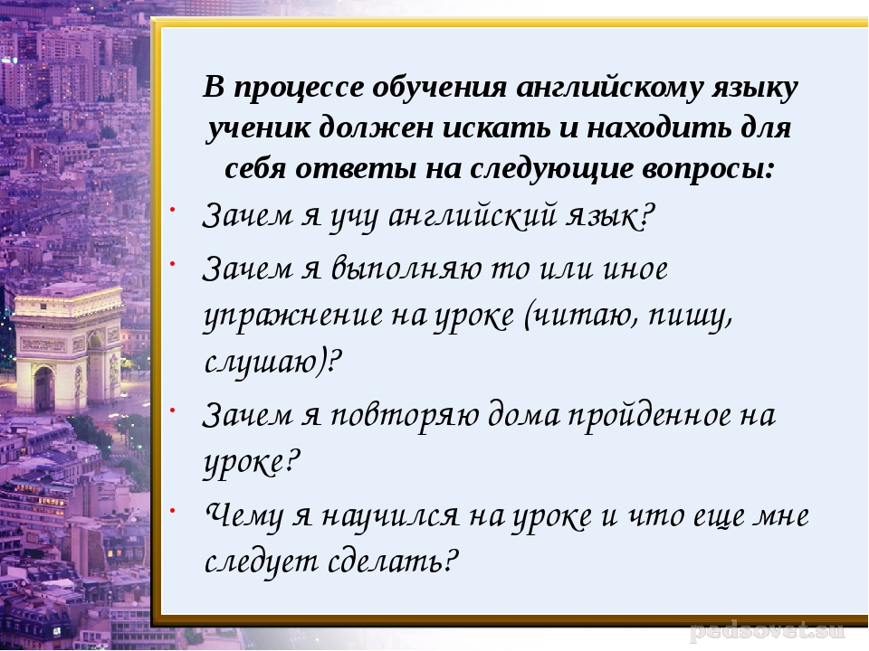В процессе обучения английскому языку ученик должен искать и находить для себ...