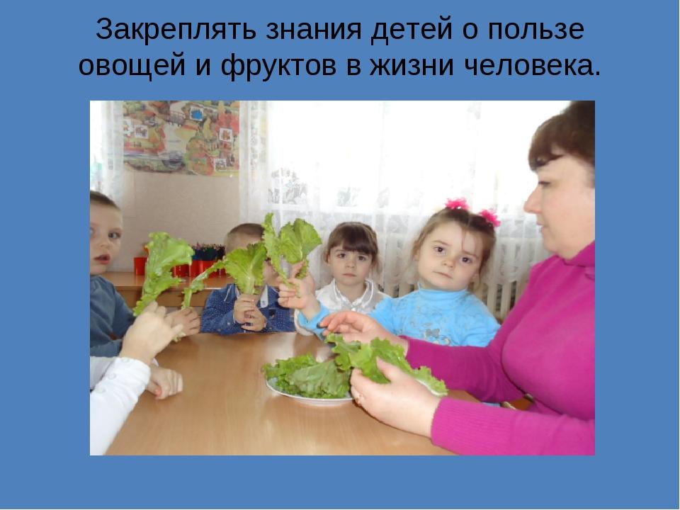 Закреплять знания детей о пользе овощей и фруктов в жизни человека.