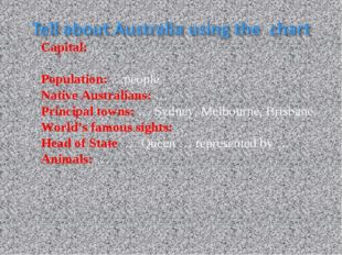 Capital: … . Population: …people. Native Australians: … Principal towns: … Sy