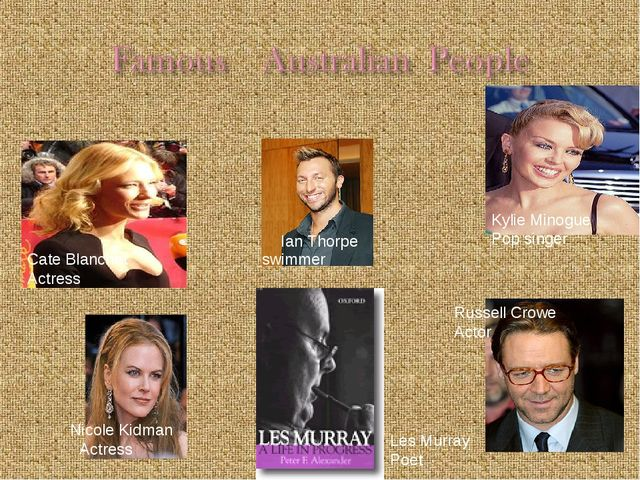 Russell Crowe Actor Kylie Minogue Pop singer Ian Thorpe swimmer Nicole Kidman...