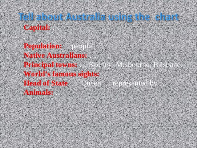 Capital: … . Population: …people. Native Australians: … Principal towns: … Sy...