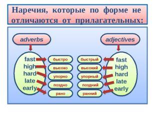 Наречия, которые по форме не отличаются от прилагательных: adverbs adjectives