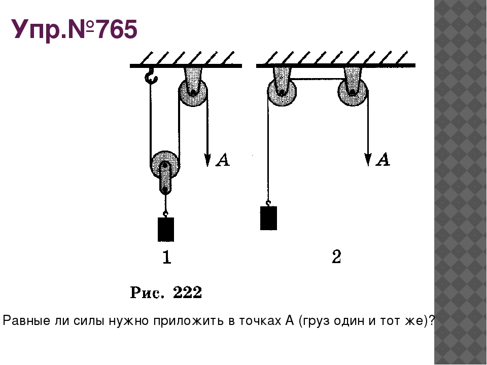 Упр.№765 Равные ли силы нужно приложить в точках А (груз один и тот же)?
