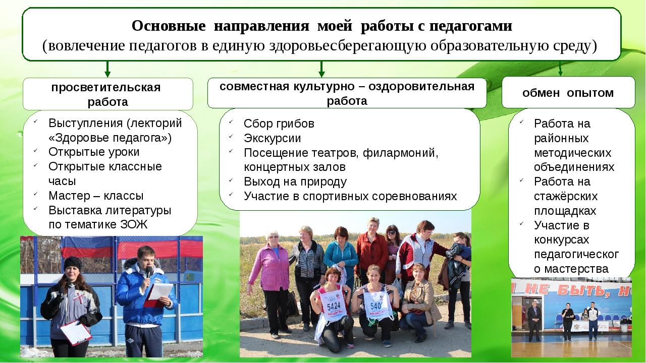 Основные направления моей работы с педагогами (вовлечение педагогов в единую...