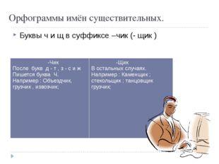 Орфограммы имён существительных. Буквы ч и щ в суффиксе –чик (- щик ) -Чик По