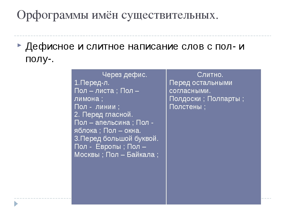 Орфограммы имён существительных. Дефисное и слитное написание слов с пол- и п...