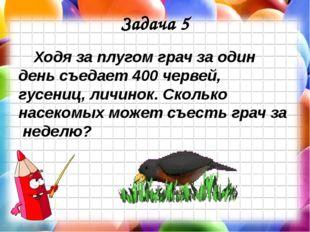 Задача 5 Ходя за плугом грач за один день съедает 400 червей, гусениц, личино