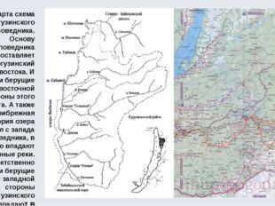 Карта схема Баргузинского заповедника. Основу заповедника составляет Баргузин