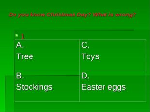 Do you know Christmas Day? What is wrong? 1 A. Tree	C. Toys B. Stockings	D. E