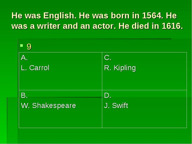 He was English. He was born in 1564. He was a writer and an actor. He died in...