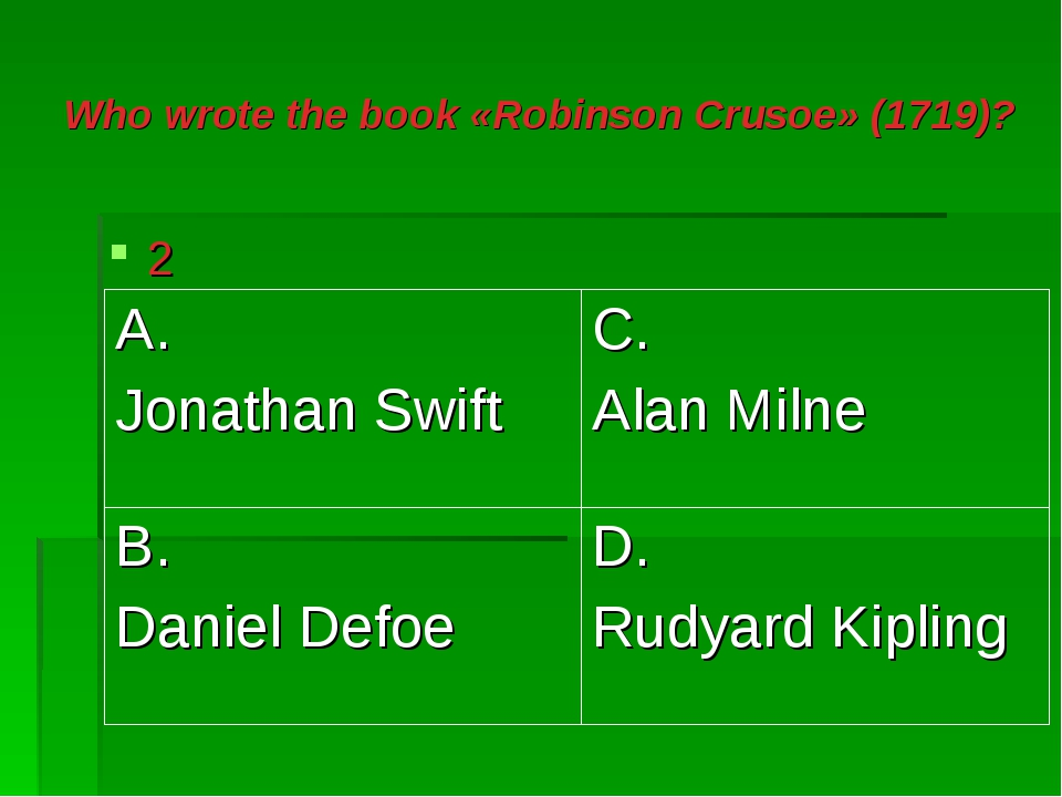 Who wrote the book «Robinson Crusoe» (1719)? 2 A. Jonathan Swift	C. Alan Miln...