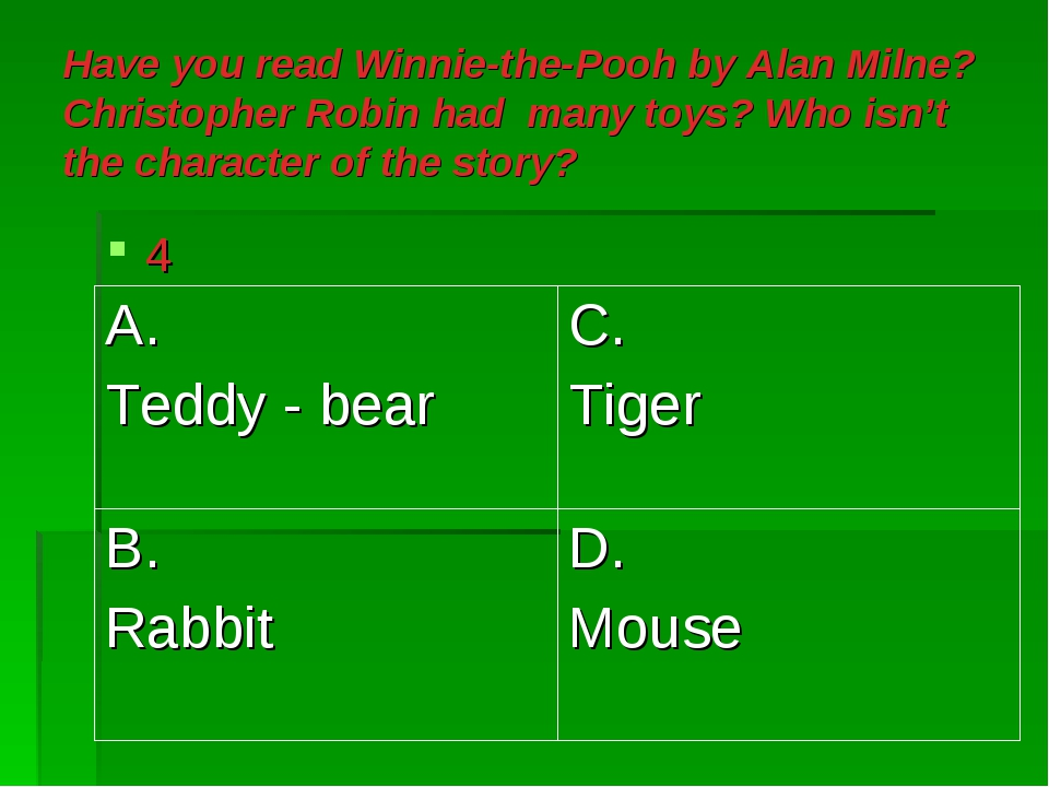 Have you read Winnie-the-Pooh by Alan Milne? Christopher Robin had many toys?...