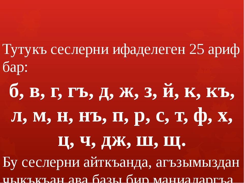 Тутукъ сеслерни ифаделеген 25 ариф бар: б, в, г, гъ, д, ж, з, й, к, къ, л, м,...
