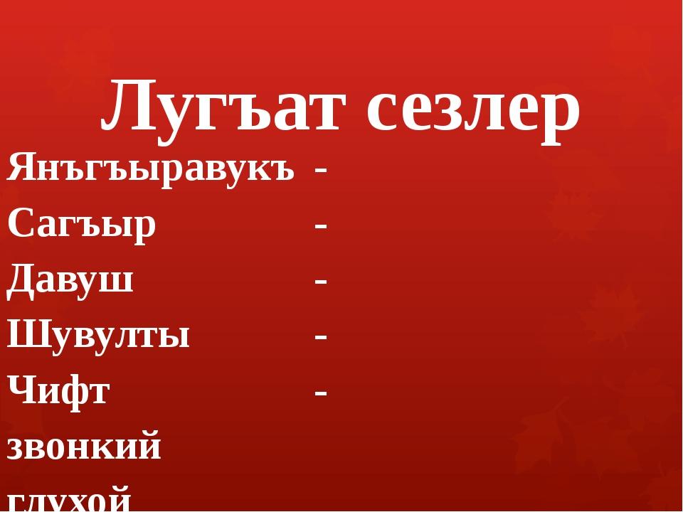 Лугъат сезлер Янъгъыравукъ- Сагъыр- Давуш- Шувулты- Чифт...