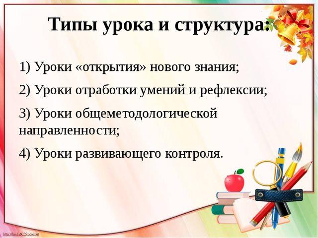 Типы урока и структура: 1) Уроки «открытия» нового знания; 2) Уроки отработки...