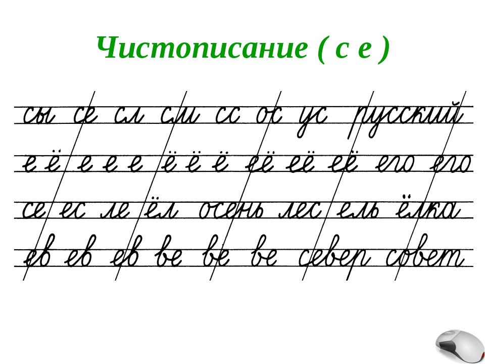 Чистописание ( с е )