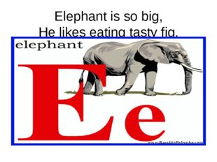 Elephant is so big, He likes eating tasty fig.