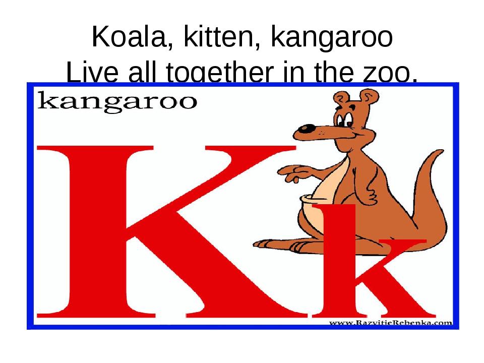 Koala, kitten, kangaroo Live all together in the zoo.