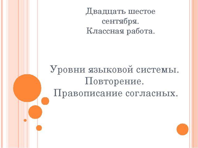 Уровни языковой системы. Повторение. Правописание согласных. Двадцать шестое...