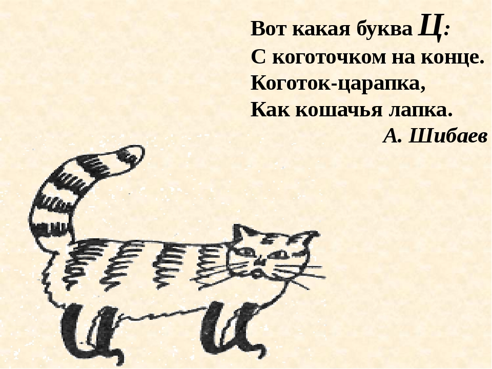 Вот какая буква Ц: С коготочком на конце. Коготок-царапка, Как кошачья лапка....