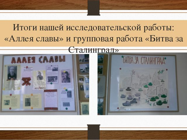 Итоги нашей исследовательской работы: «Аллея славы» и групповая работа «Битва...