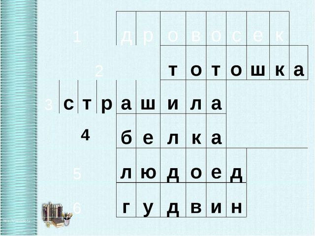 1 д р о в о с е к  2 т о т о ш к а 3 с т р а ш и л а   4 б е л к а 5 л ю д...