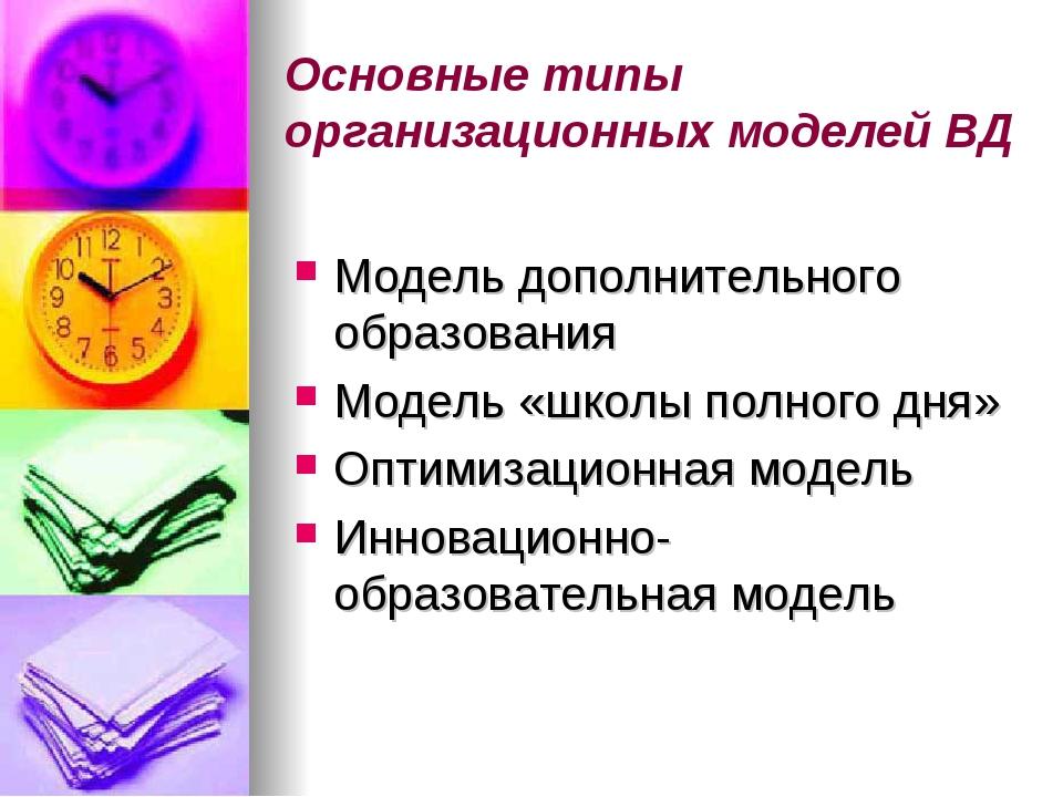 Основные типы организационных моделей ВД Модель дополнительного образования М...
