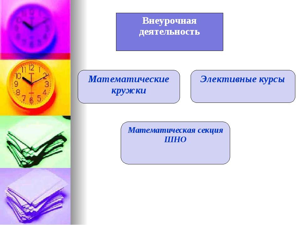 Внеурочная деятельность Математические кружки Элективные курсы Математическая...