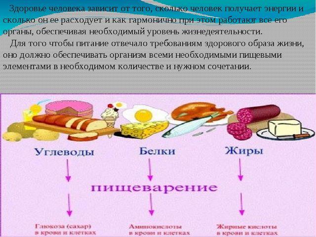 Здоровье человека зависит от того, сколько человек получает энергии и скольк...