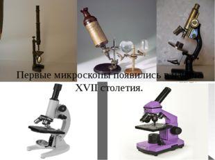 Первые микроскопы появились в начале XVII столетия.