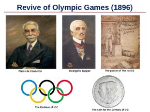 Revive of Olympic Games (1896) Evangelis Zappas Pierre de Coubertin The Emble