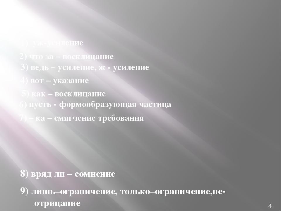 8) вряд ли – сомнение 9) лишь–ограничение, только–ограничение,не-отрицание 1...