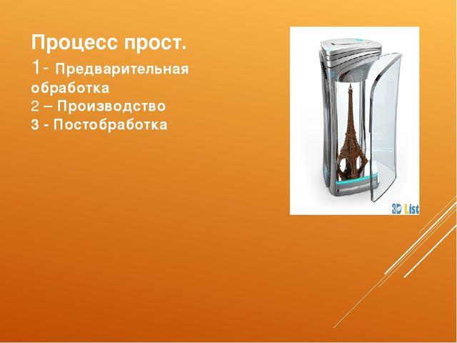 Процесс прост. 1- Предварительная обработка 2 – Производство 3 - Постобработка