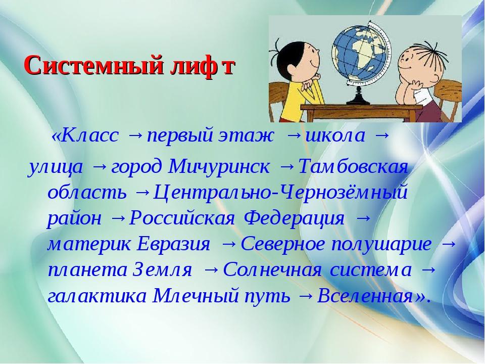 Системный лифт «Класс → первый этаж → школа → улица → город Мичуринск → Тамбо...