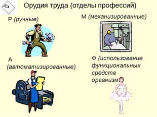 Орудия труда (отделы профессий) Р (ручные) М (механизированные) А (автоматизи