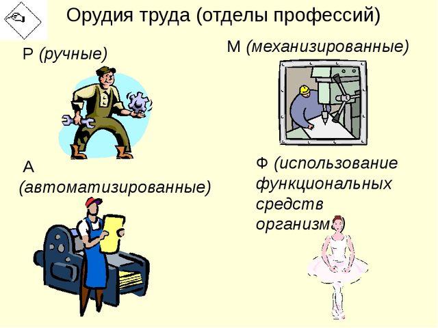 Орудия труда (отделы профессий) Р (ручные) М (механизированные) А (автоматизи...