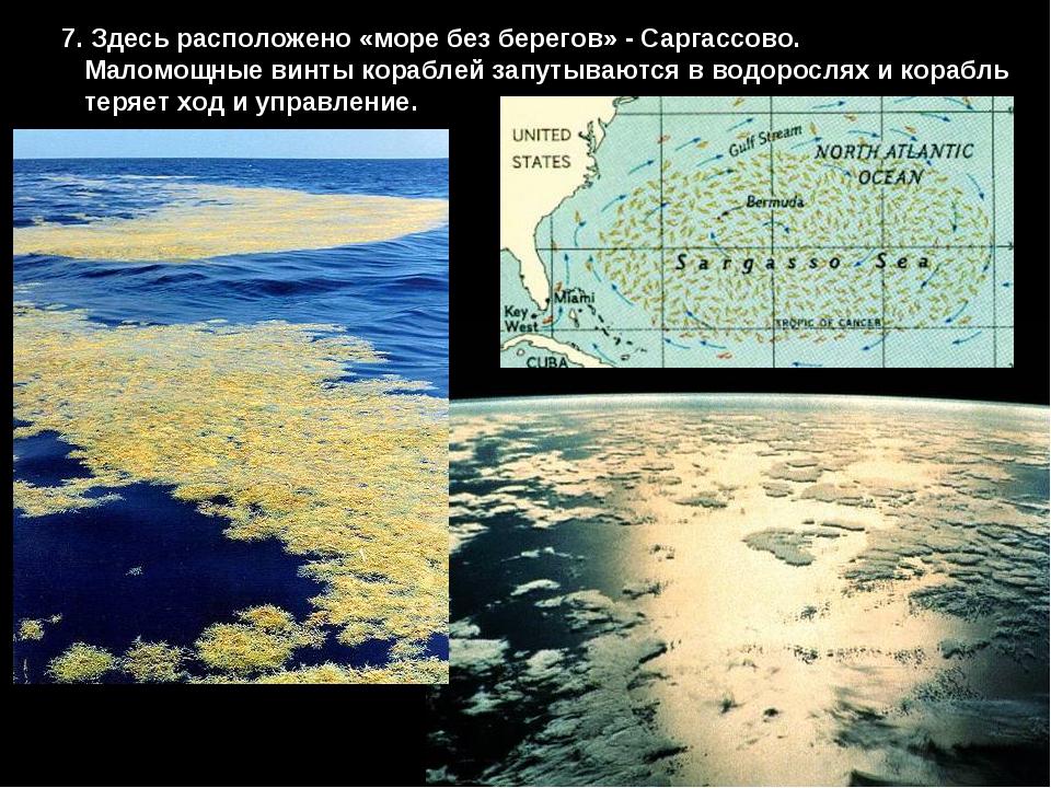 7. Здесь расположено «море без берегов» - Саргассово. Маломощные винты корабл...