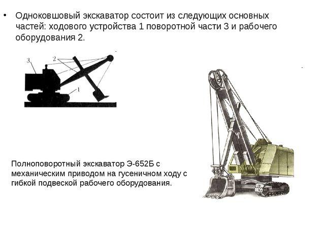 Одноковшовый экскаватор состоит из следующих основных частей: ходового устрой...