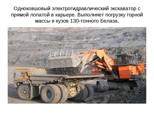 Одноковшовый электрогидравлический экскаватор с прямой лопатой в карьере. Вып...